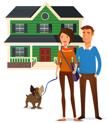 Hand drawn depiction of Home Insurance Characters
